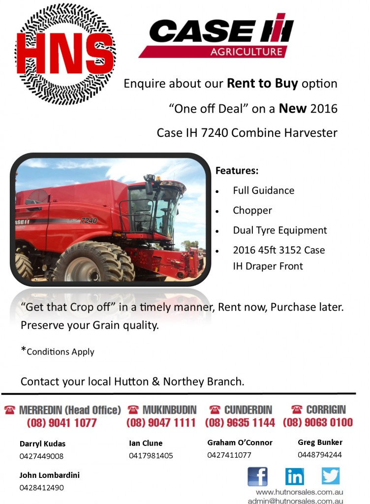 Rent to buy combine 7240 at hutton & Northey