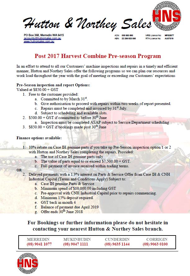 Combine per-season Program Case IH